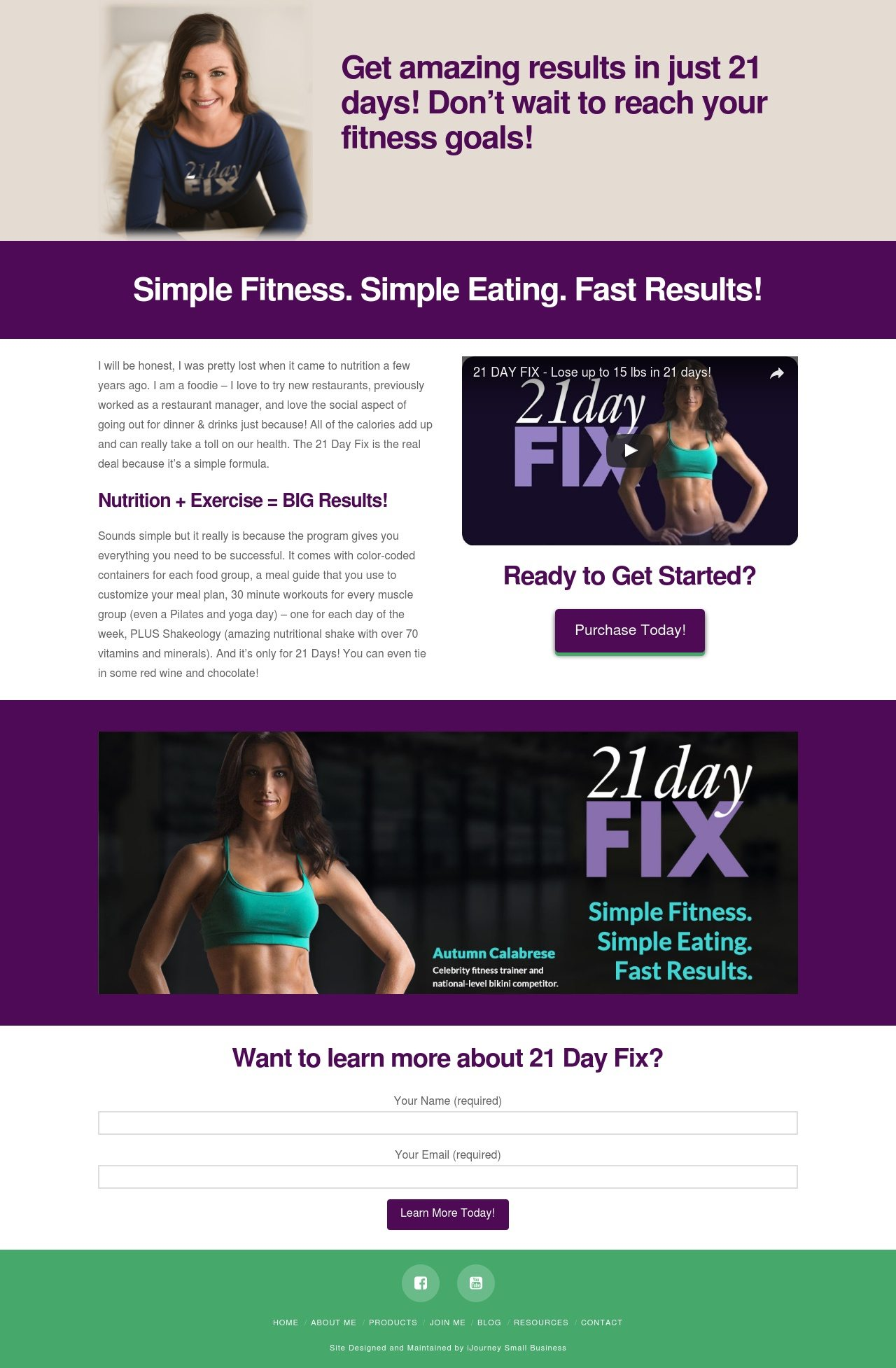 21 Day Fix Landing Page - Landing Page Design