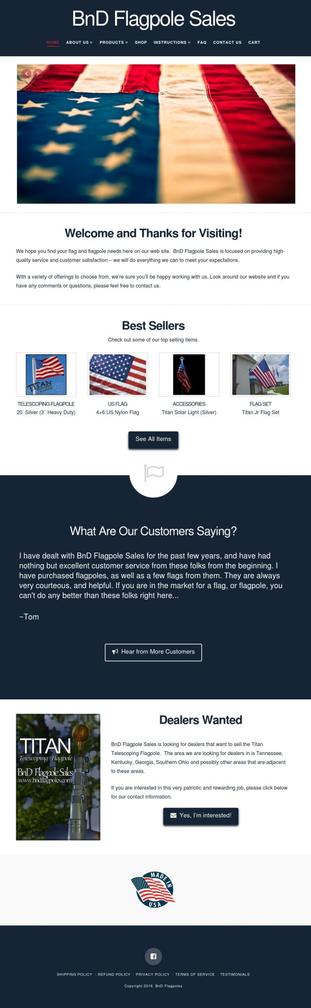 BnD Flagpole Sales - Website Design