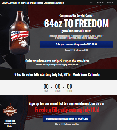 Commemorative Growler Landing Page - Landing Page Design