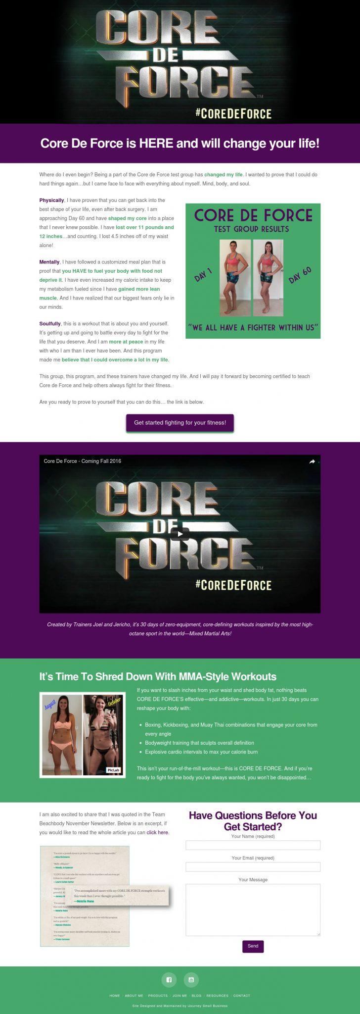 Core de Force Landing Page - Landing Page Design