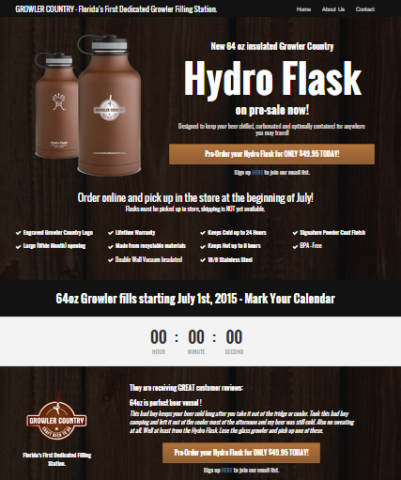 ydro Flask Pre-Sale Landing Page - Landing Page Design